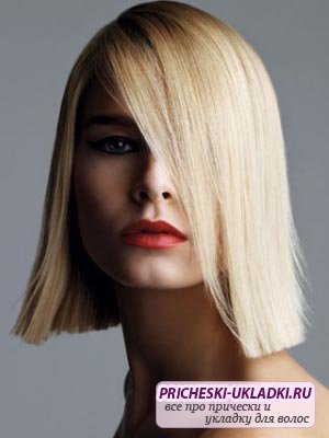 Фото модных стрижек с челкой на средний волос