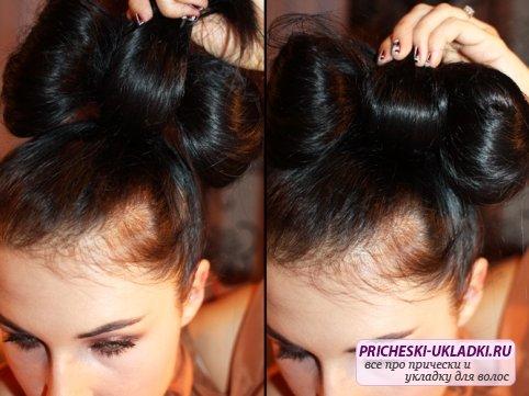 Часть волос и на время закрепите